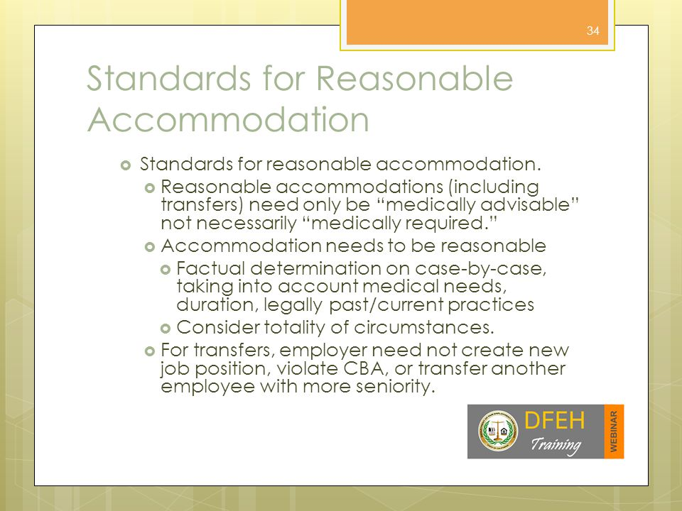 Examples of Reasonable Accommodation  Examples of reasonable accommodation.