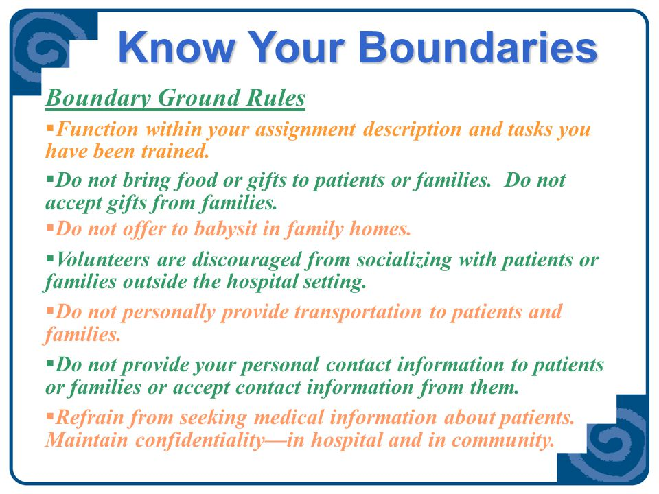 Boundaries and Social Media  Volunteers are welcome to have social networking sites in their personal lives.
