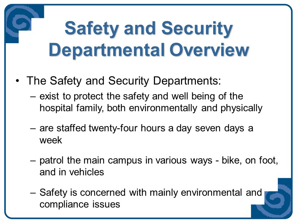 Services Security provides the following services –Escorts for staff, volunteers and visitors –Vehicle assists –Conflict resolutions –Instruction in Self-Defense –And with your help, investigations of suspicious persons and incidents (S.A.F.E.)