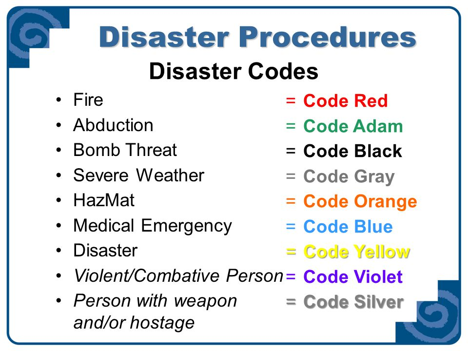 Disaster Procedures Workplace Violence Disaster Codes Code Violet--Violent/Combative Person Activated when a person's behavior is observed to be increasingly out of control Behavior threatens the safety of that person or others Request assistance from staff immediately Code Silver--Person with weapon and/or hostage Activated when a person is seen with a weapon, distinctive popping noises or gunshots are heard, or in a hostage situation Request assistance from staff immediately Off-duty police or detectives are allowed to carry weapons 722-3333 is emergency security number