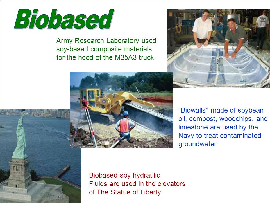  Federal agencies are using or testing nearly three dozen types of biobased products, including lubricants, personal and institutional cleaning products, construction products, fleet maintenance products, solvents, and landscaping products - Leading By Example: A Report to the President on Federal Environmental and Energy Management, Oct 2007 Who's Using Biobased Products?