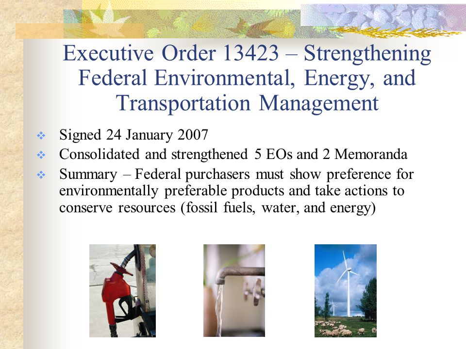 EO 13423  Green Procurement  Energy & water efficiency in facility design, construction, & operation  Reduction of toxic chemical use  Maintenance of waste reduction & recycling programs (DOD goal of 35%)  Design and construction of sustainable buildings  Increase in alternative fuel use by 10% per year & reduction of petroleum use by 2% per year  Procurement of EPEAT-registered electronics & management through end of life  Enabling of Energy Star features on computers & monitors  Key Requirements: