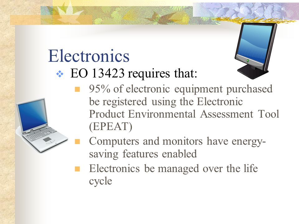 Review WWhich of the following is NOT an element of Green Procurement.