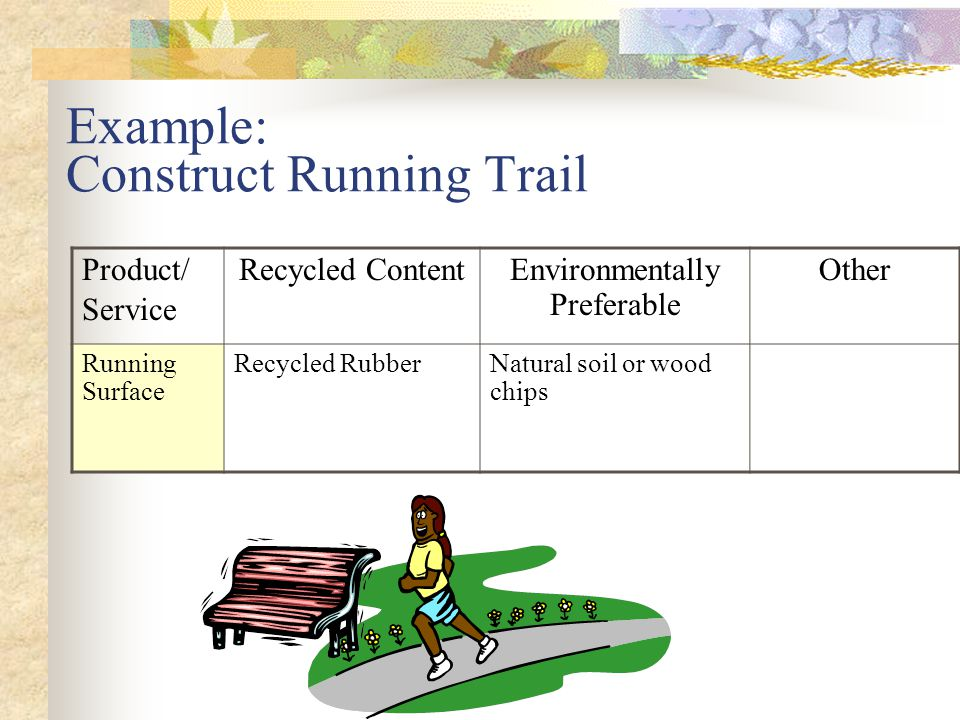 Example: Construct Running Trail Product/ Service Recycled ContentEnvironmentally Preferable Other Running Surface Recycled RubberNatural soil or wood chips Avoid disturbance of wetlands and habitat