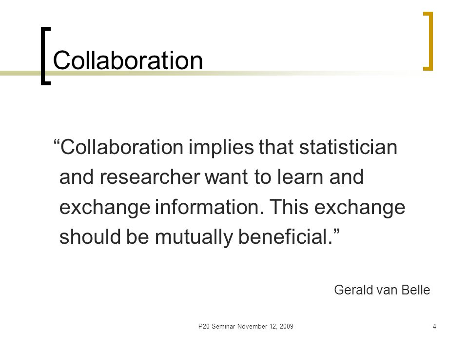 P20 Seminar November 12, 20095 Types of Consulting Cross sectional - statistical advice for data already collected or analyzed Longitudinal – a long term relationship between statistician and researcher