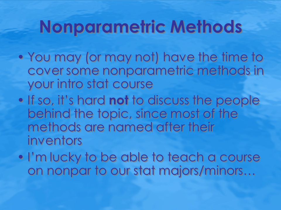 Excerpts from typical handouts developed for STA 317, Nonparametric Statistical Analysis FRIEDMAN TWO-WAY ANALYSIS OF VARIANCE BY RANKS The title of Milton Friedman's 1937 JASA paper, The Use of Ranks to Avoid the Assumption of Normality Implicit in the Analysis of Variance, clearly indicates a nonparametric alternative to ANOVA.