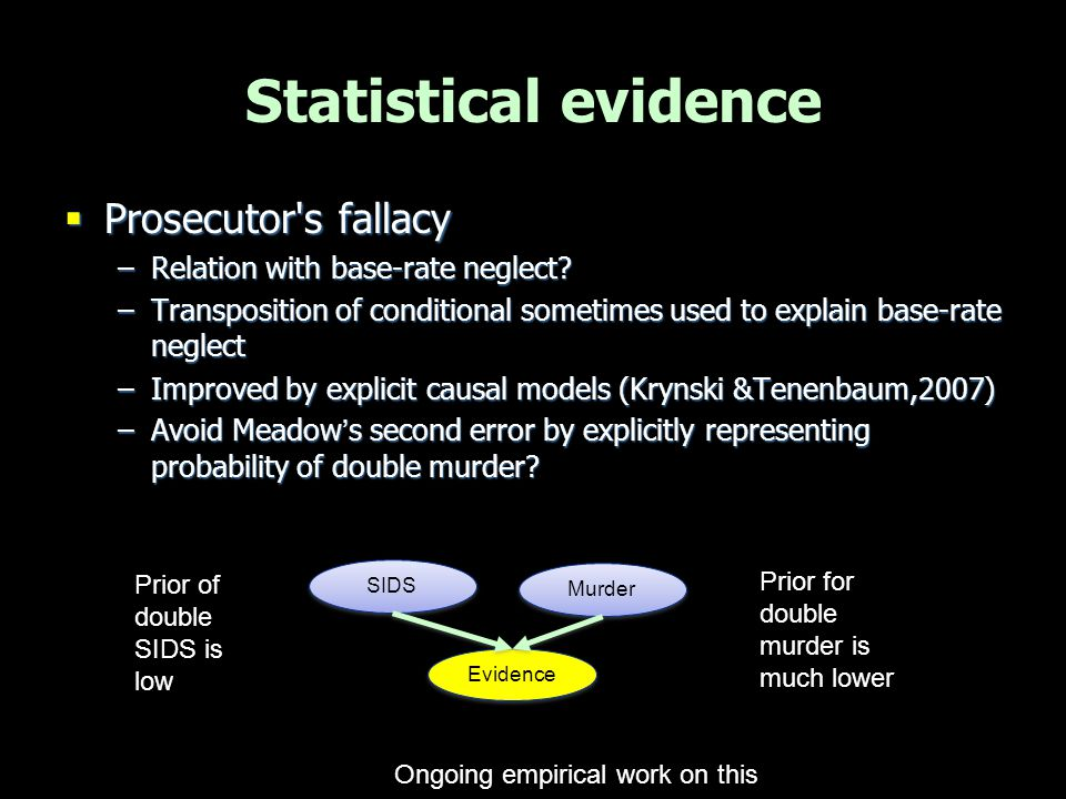 Misleading categories  Case framed as murder vs SIDS  Exclusive but not exhaustive  Tempting to reason: not-SIDS -> murder  But other natural explanations possible (eg infections etc)  Key to include alternative causes … Evidence Natural Unnatural Evidence other natural smother Other … SIDS