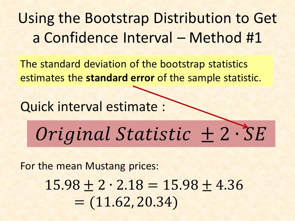 Using the Bootstrap Distribution to Get a Confidence Interval – Method #2 Keep 95% in middle Chop 2.5% in each tail We are 95% sure that the mean price for Mustangs is between $11,930 and $20,238