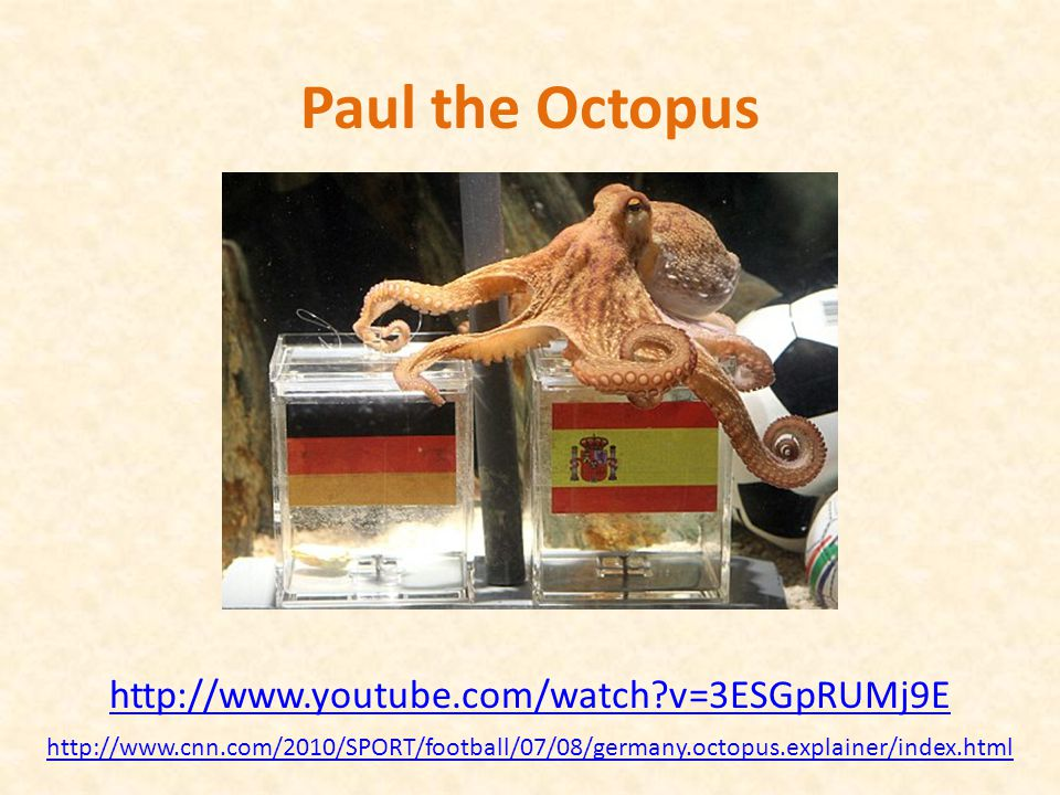 Paul the Octopus predicted 8 World Cup games, and predicted them all correctly Is this evidence that Paul actually has psychic powers.