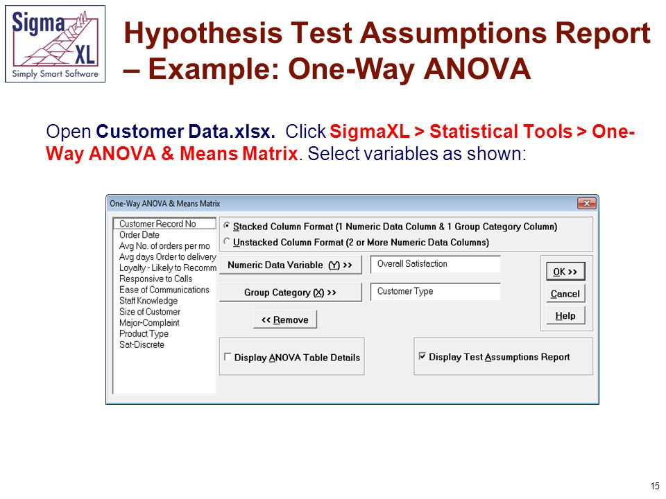 16 Hypothesis Test Assumptions Report – Example: One-Way ANOVA