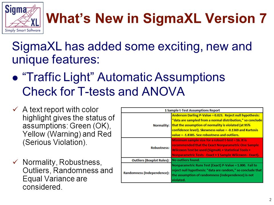 3 Traffic Light Attribute Measurement Systems Analysis: Binary, Ordinal and Nominal What's New in SigmaXL Version 7 A Kappa color highlight is used to aid interpretation: Green (>.9), Yellow (.7-.9) and Red (<.7) for Binary and Nominal.