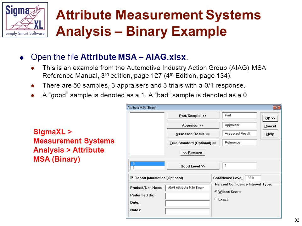 33 Attribute Measurement Systems Analysis – Binary Example