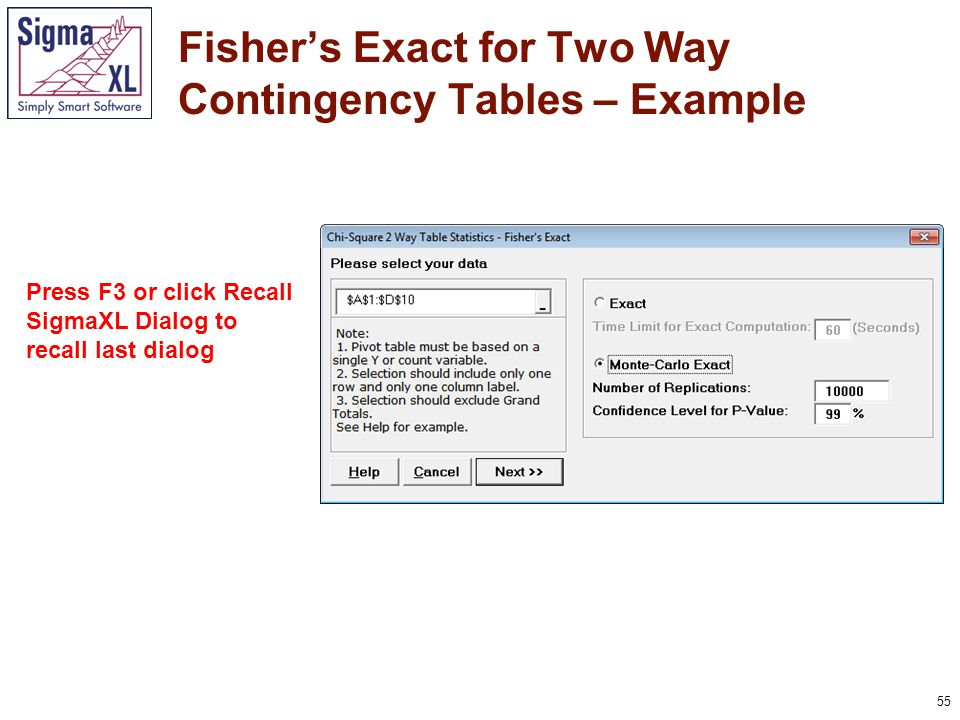 56 Fisher's Exact for Two Way Contingency Tables – Example