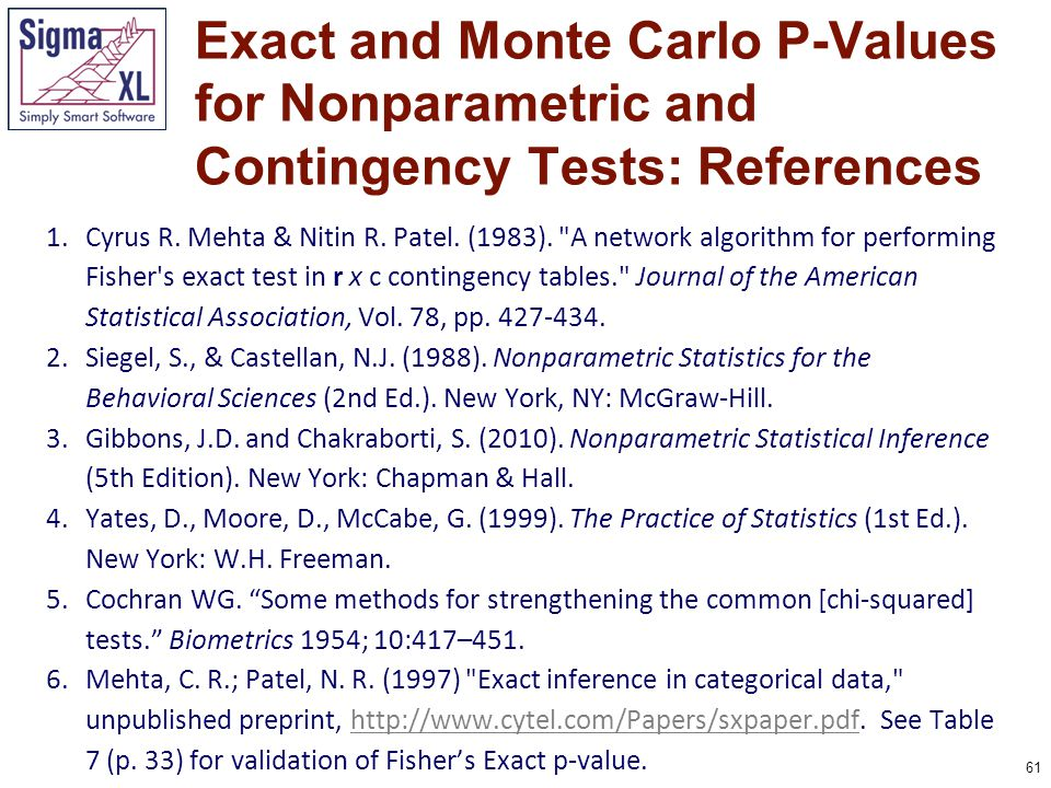 62 7.Mehta, C.R.; Patel, N.R. (1998). Exact Inference for Categorical Data. In P.