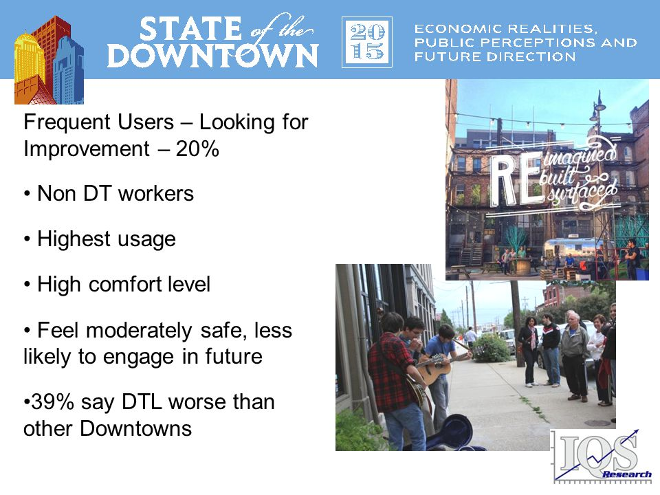 Downtown Ambassadors - 24% Not DT workers Current usage is moderate Future usage is STRONG Most likely to move DT Downtown ambassadors or Downtown Louisville ambassadors?