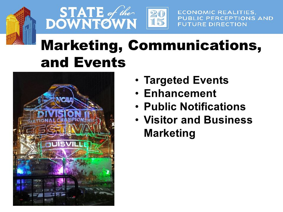 Research State of Downtown Demographic and Economic Data Over 175 databases, fact sheets, and maps Interviews with Downtown and Suburban Executives Retail and Housing Market Studies