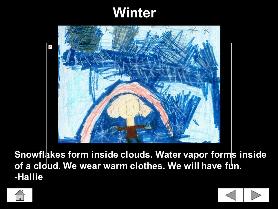 Snowflakes form inside clouds.Water vapor forms inside of a cloud.