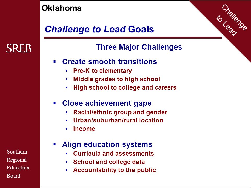 Challenge to Lead Southern Regional Education Board Oklahoma Challenge to Lead Goals 12 Goals  First-Grade Readiness : Students are ready for first grade.