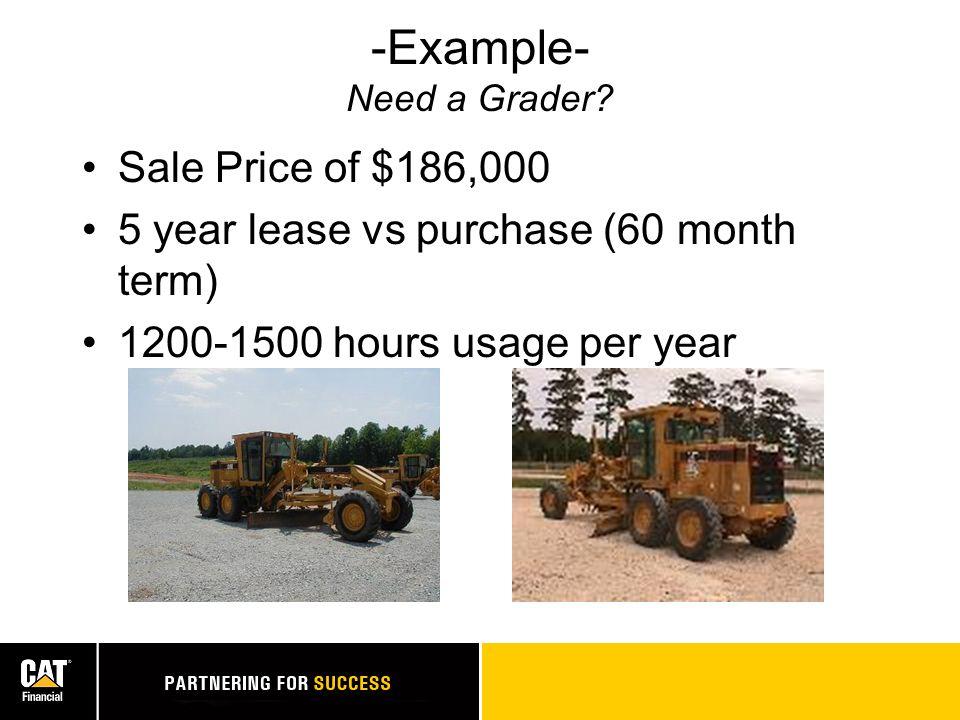 CASH FLOW CAT Motor Grader (1,500 hrs per yr)