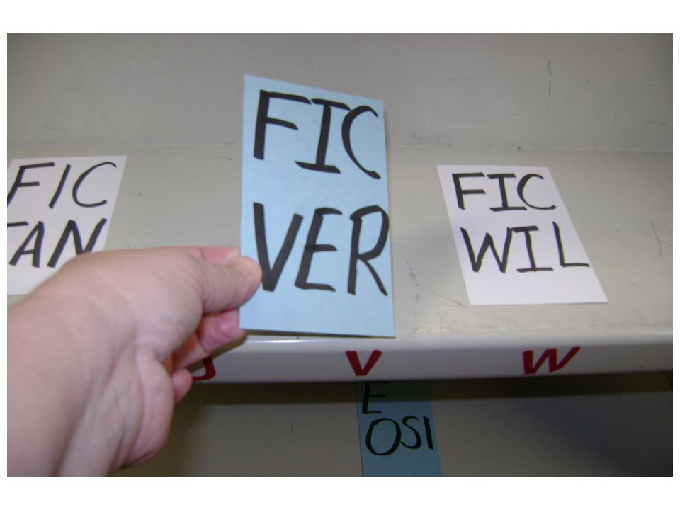5 th Demonstrate how to match up the spine label with the correct letter on the shelf.