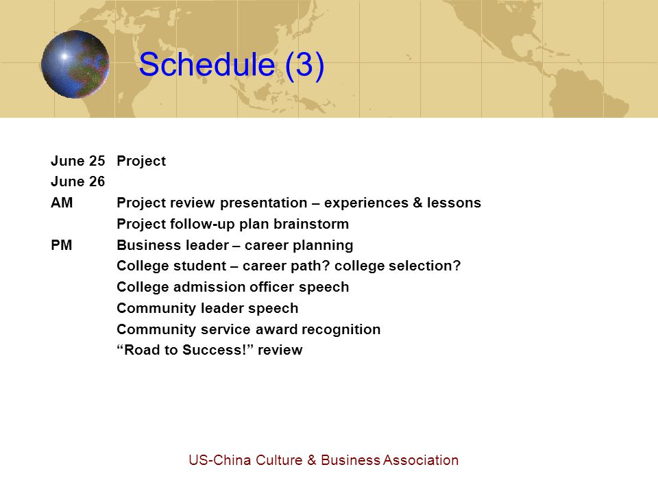 US-China Culture & Business Association Comparison: TRTS vs.