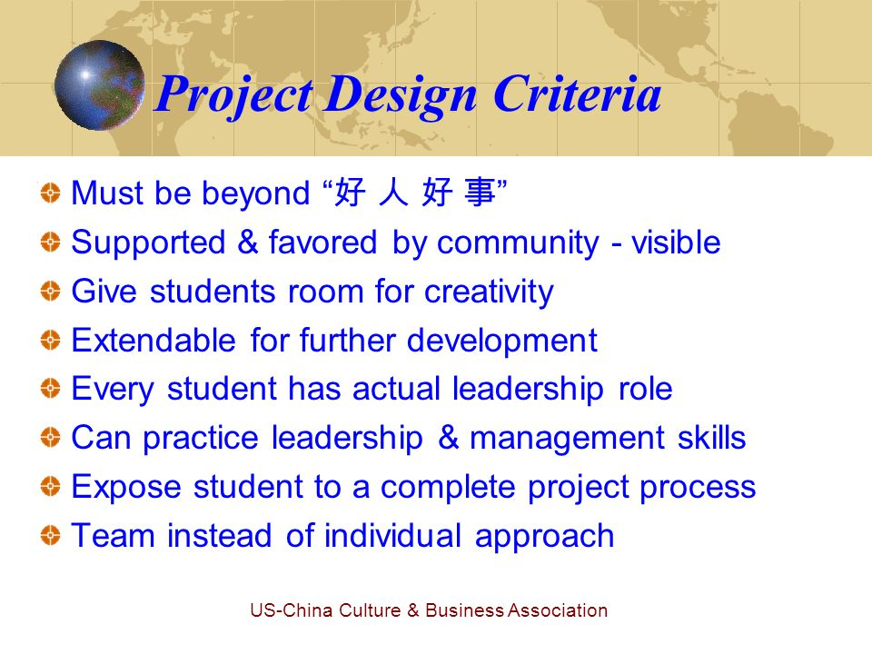 US-China Culture & Business Association Operation of Greener Solon Outline of the Project (1) ‣ Students will be assigned to different task groups: * Fund raising … * Design promotion materials… * Create education materials… * Investigate current status and choose project targets… * Identify & implement effective ways to educate… * Gain support partners (org.