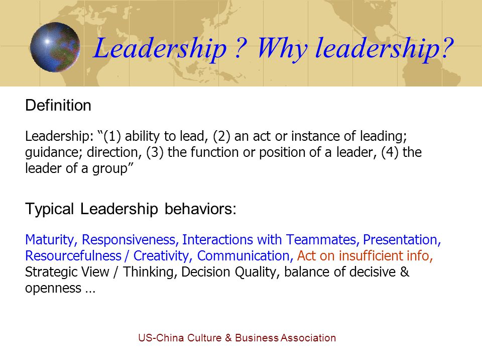US-China Culture & Business Association Why this leadership camp.