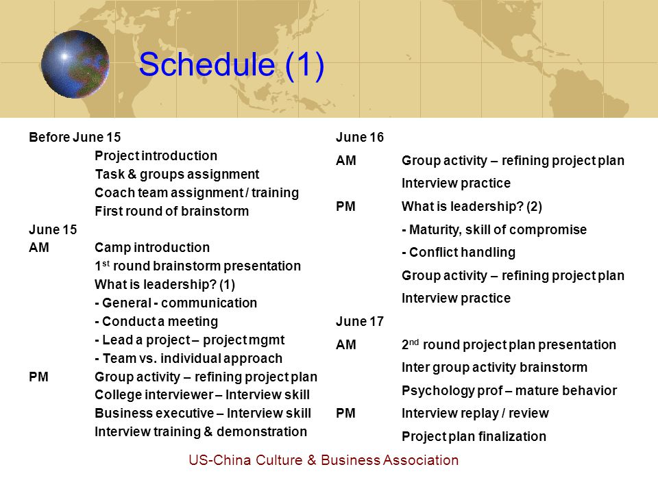 US-China Culture & Business Association Schedule (2) June 18 AMEssay teacher – college essay College student – college essay College students – what if I … PMProject June 19 AMProject (in SH) PMProject EveningParents presentation - College application - High school planning June 20/21Project – optional (weekend) June 22 AMProject progress review presentation Project plan refining Student counselor – high school life PMProject EveningParent presentation Q&A College financial aid/scholarship June 23Project June 24 AMProject progress review presentation Project plan refining College essay review PMCollege essay review – cont.