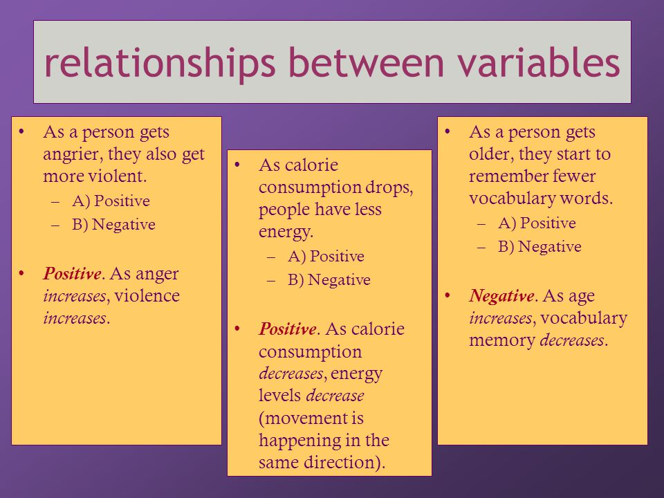 relationships between variables  Ultimately, we are typically interested in whether or not one variable causes another.