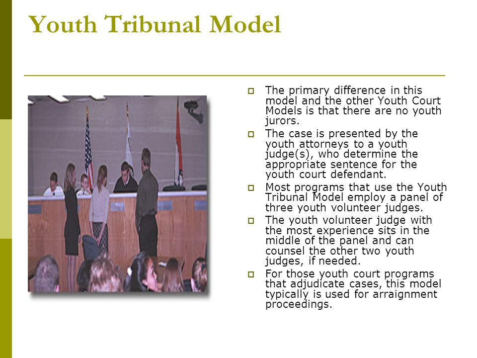 Peer Jury Model  The main distinction between programs operating under the Adult Judge, Youth Judge or Youth Tribunal Models versus Peer Jury Models, is that peer jury model youth court programs do not use youth in defense and prosecuting attorney roles.
