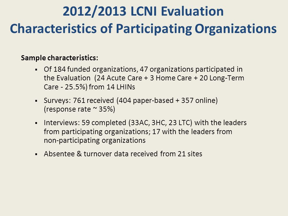 2012/2013 LCNI Evaluation Participating Organizations by LHIN and Sectors 1.