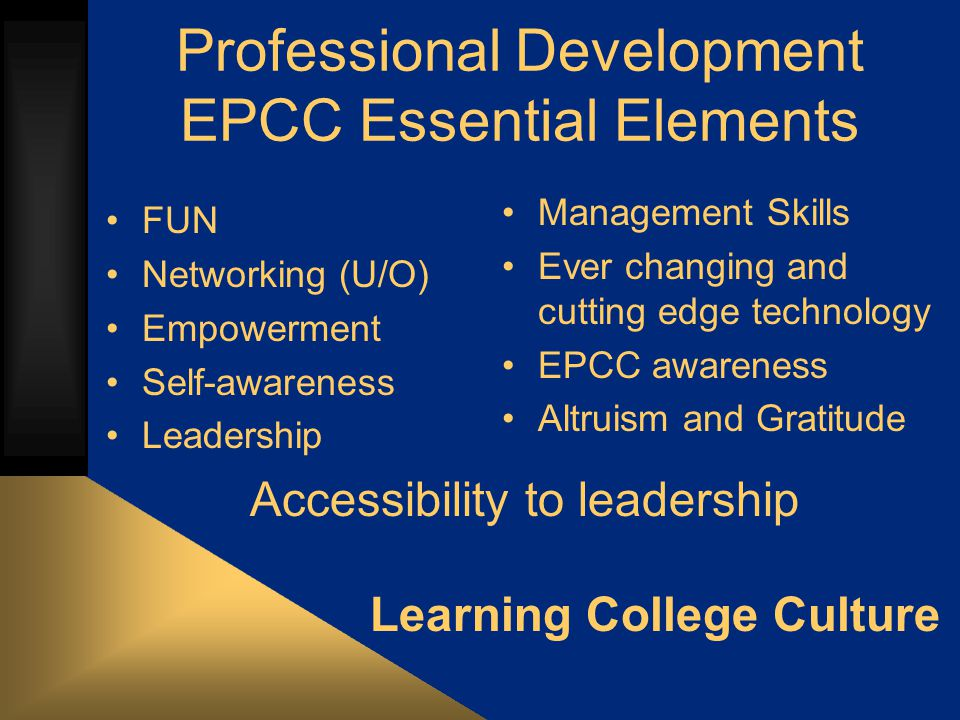Leadership EPCC Campus, community, workforce leadership skills; Understanding of their roles and responsibilities in larger community Skills development in Problem Solving, Goal Setting, Conflict Resolution, Teambuilding, Communication, Appreciation of Diversity, Goal Setting, Positive Thinking, Resume building, Mock Interviews, High Ropes