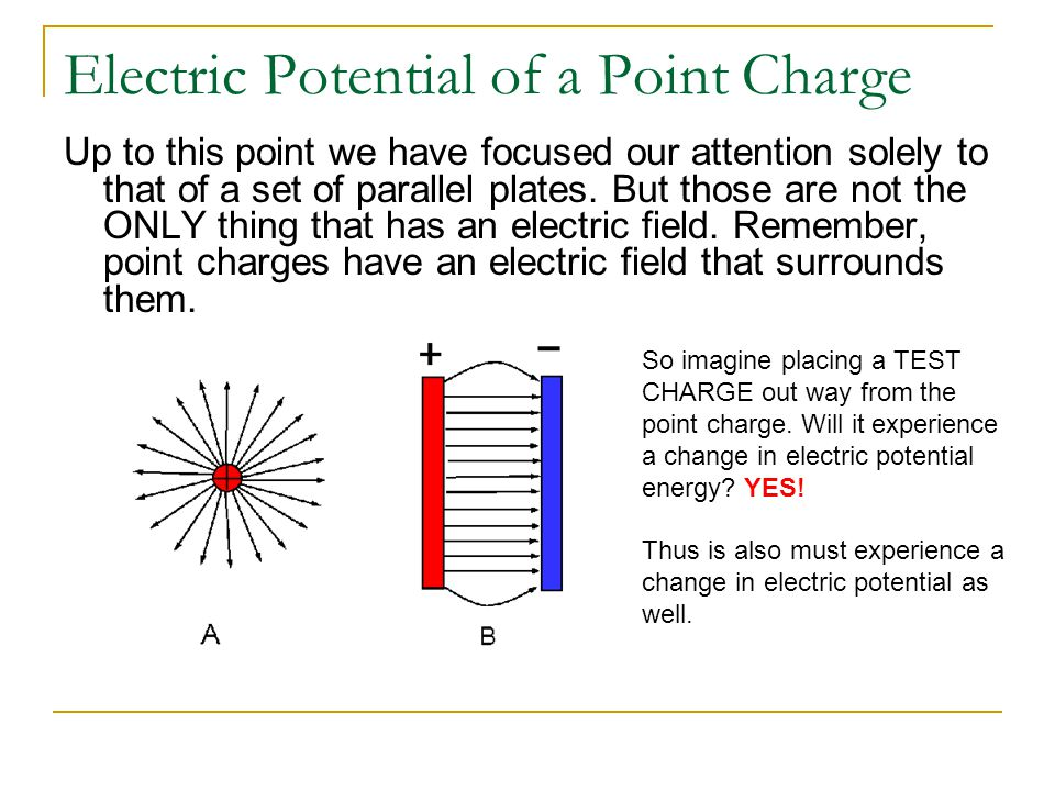Electric Potential Let's use our plate analogy.