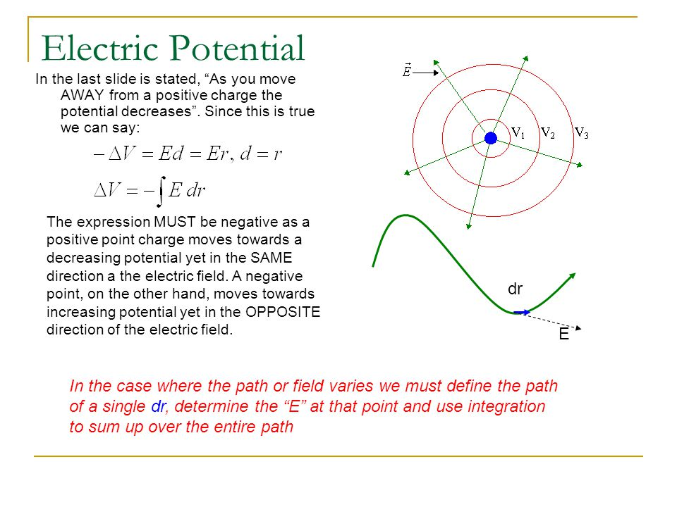 Electric Potential of a Point Charge There are a few things you must keep in mind about electric potentials.