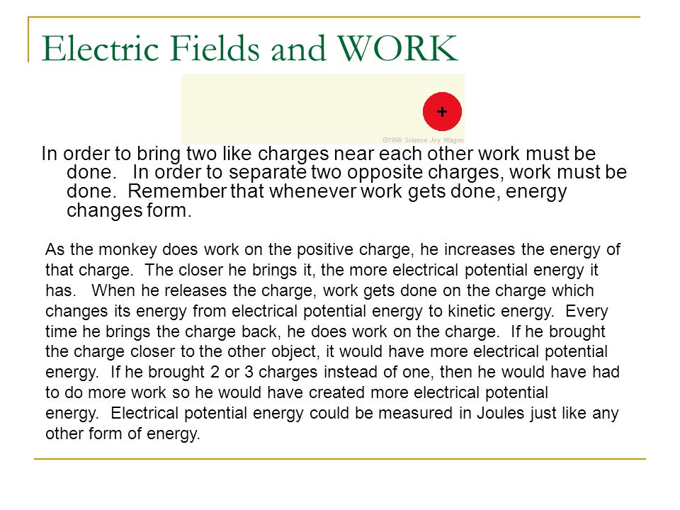 Electric Fields and WORK Consider a negative charge moving in between 2 oppositely charged parallel plates initial KE=0 Final KE= 0, therefore in this case Work =  PE We call this ELECTRICAL potential energy, U E, and it is equal to the amount of work done by the ELECTRIC FORCE, caused by the ELECTRIC FIELD over distance, d, which in this case is the plate separation distance.