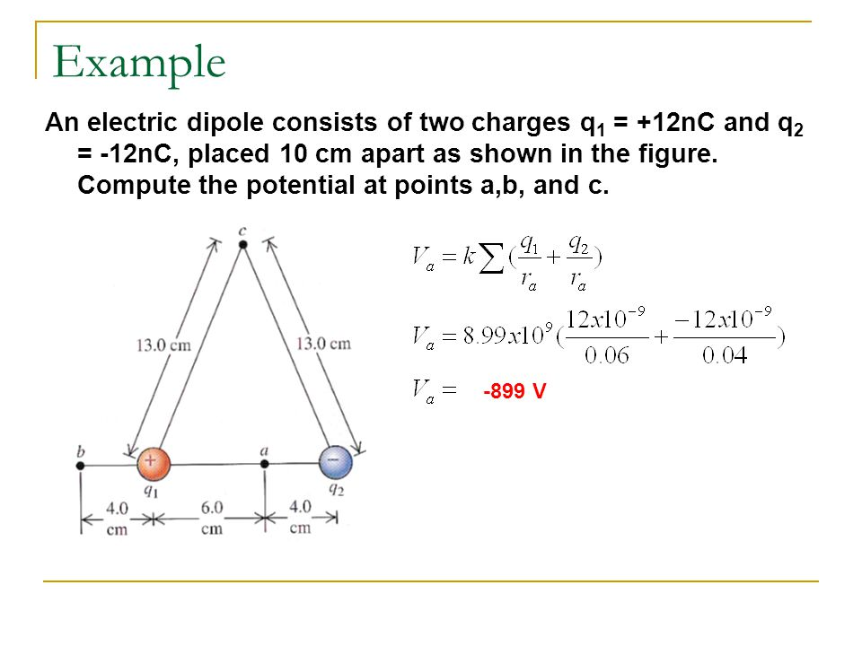 Example cont' 1926.4 V 0 V Since direction isn't important, the electric potential at c is zero.