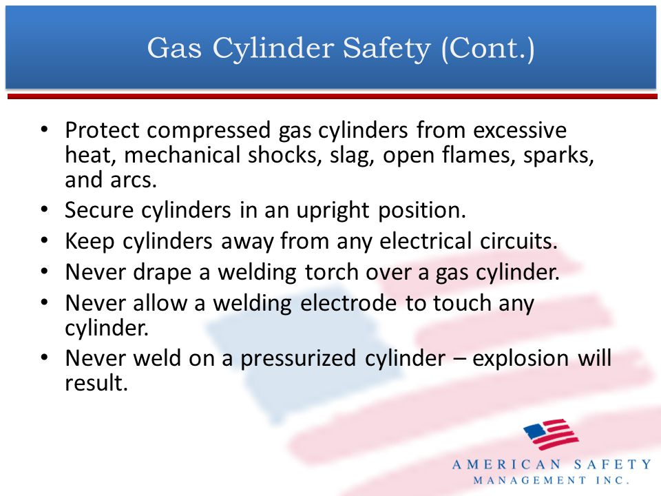 Gas Cylinder Safety (Cont.) Before attaching the regulator, remove the protective cap from the cylinder.