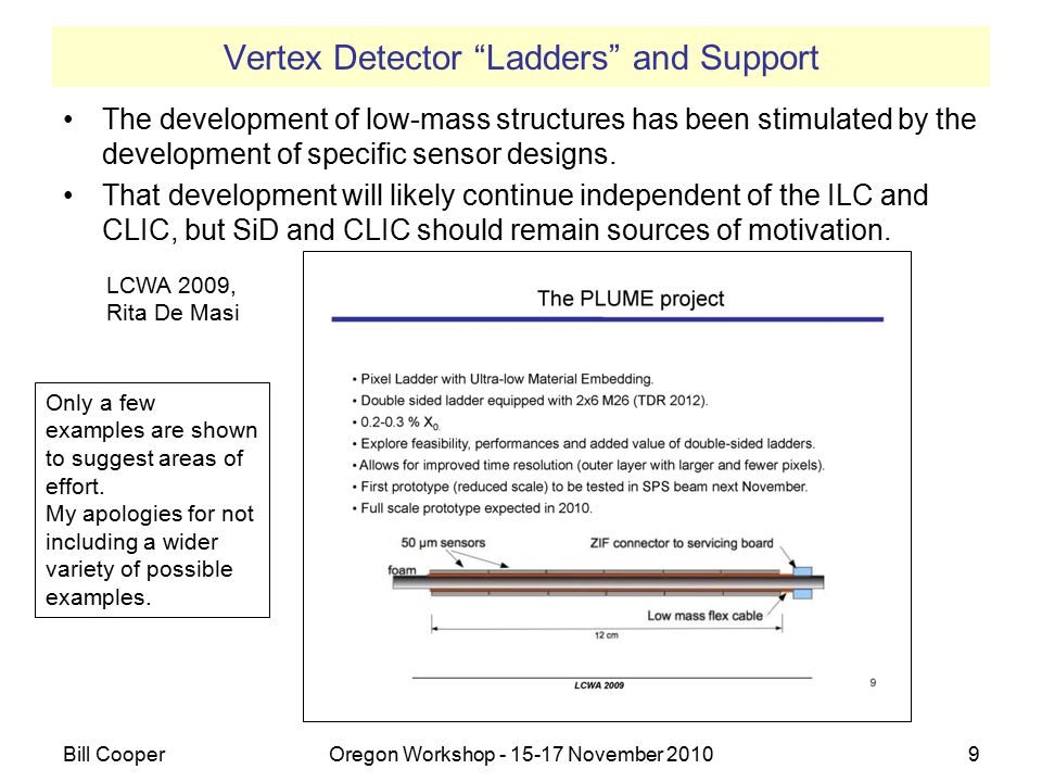 Vertex Detector Ladders and Support LCWA2009, Ryan Page Bill CooperOregon Workshop - 15-17 November 201010 10