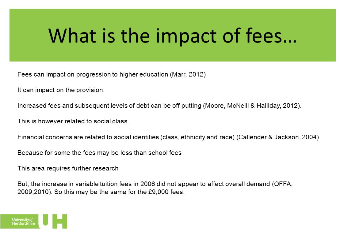 Factors that impact on educational progression The increase in tuition fees is just one of many factors that can influence educational progression.