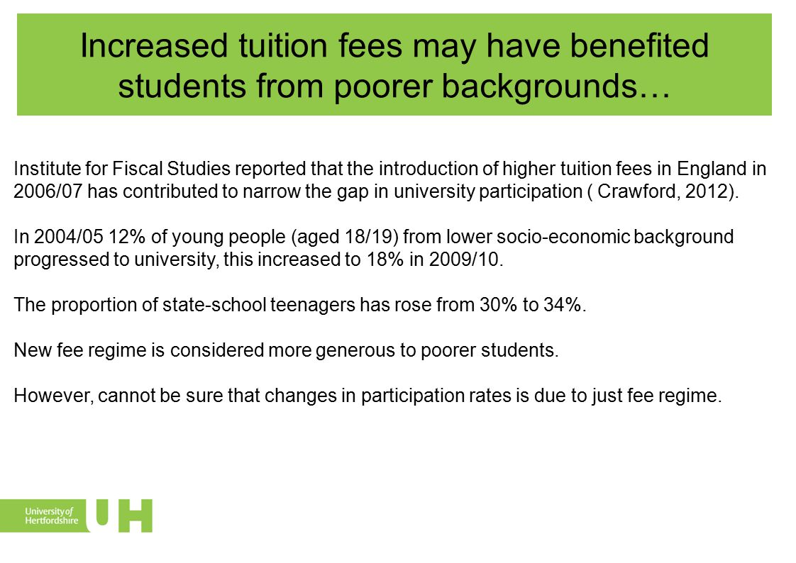 Increased tuition fees may have benefited students from poorer backgrounds… Attainment catch-up The proportion of young people from poorer backgrounds achieving two A-levels has increased.