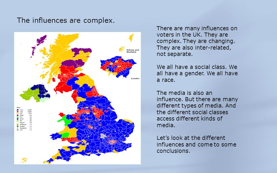 Social Class 2010 Social ClassCON (%)LAB (%)LIB DEM (%) AB392629 C1392824 C2372922 DE314017 Voting by Social Class Source: Ipsos MORI Social class remains a key influence.