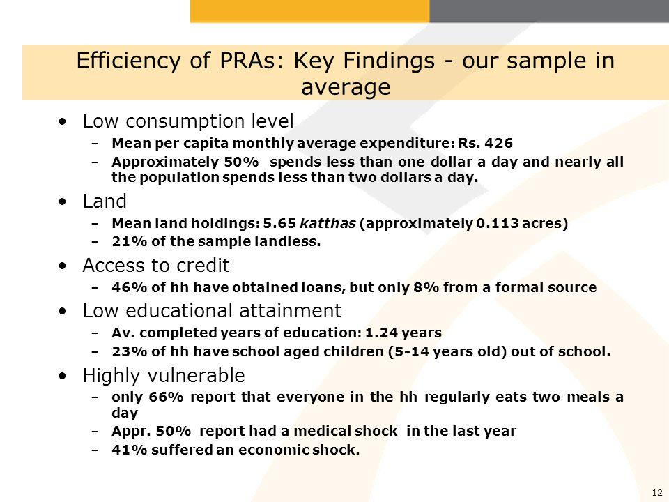 13 Key Findings: The different between Ultra poor and Non ultra poor in our sample Those assigned a higher rank during wealth ranking appear poorer than others in several important respects Households classified as ultra poor have less land –On average, they own 6.3 katthas (0.13 acres) less land.