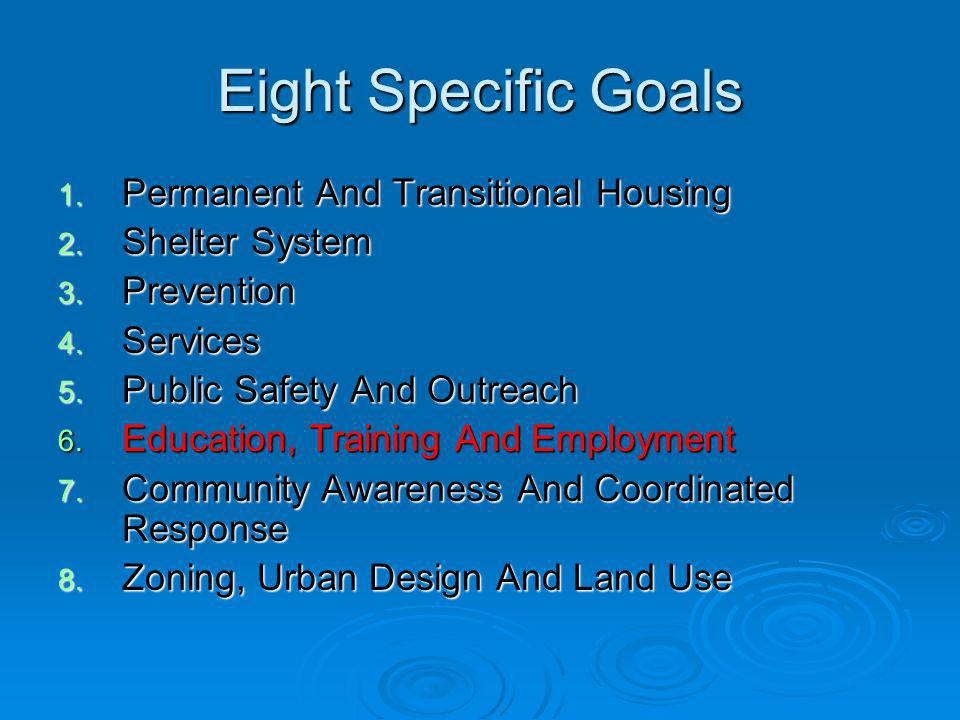 Goal # 6 Education Training and Employment To assist 600 people annually who are homeless to obtain skills and knowledge necessary to participate in the workforce Since implementation of the plan, Denvers Road Home has assisted 2,455 homeless people in finding work.
