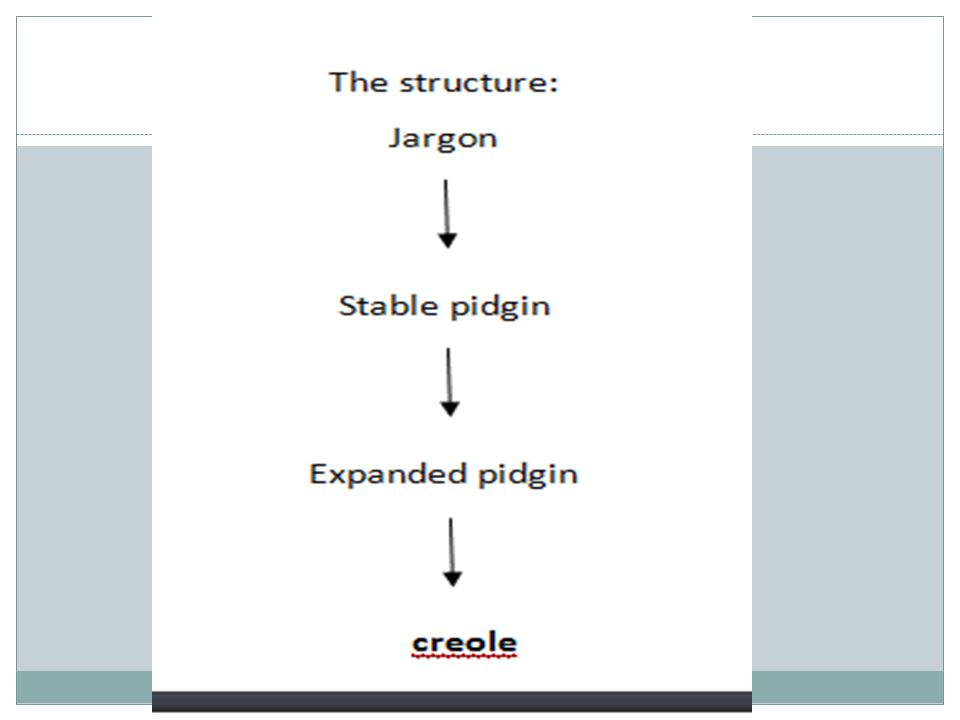 The model puts jargons as the base of a stable pidgin before it is expanded and then turning to be a Creole in the end.