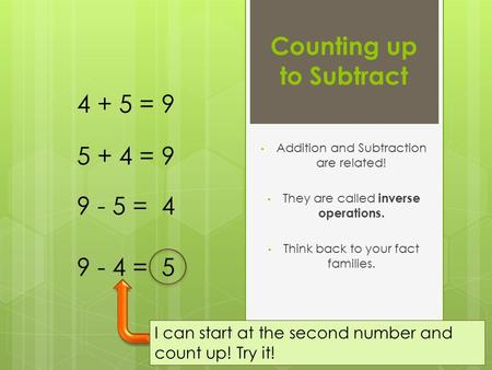 Counting up to Subtract Addition and Subtraction are related! They are called inverse operations. Think back to your fact families. 4 + 5 = 9 9 - 5 = 4.