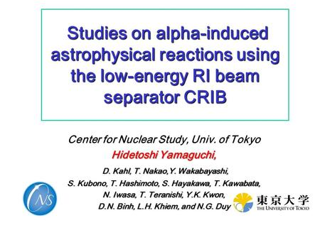 Studies on alpha-induced astrophysical reactions using the low-energy RI beam separator CRIB Studies on alpha-induced astrophysical reactions using the.