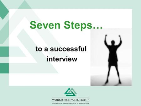 Seven Steps… to a successful interview. Interviewing Workshop  Preparation for the Interview  Proper Attire  Types of Interview  Common Interview.