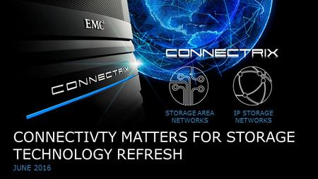 1© Copyright 2016 EMC Corporation. All rights reserved. CONNECTIVTY MATTERS FOR STORAGE TECHNOLOGY REFRESH JUNE 2016 STORAGE AREA NETWORKS IP STORAGE NETWORKS.