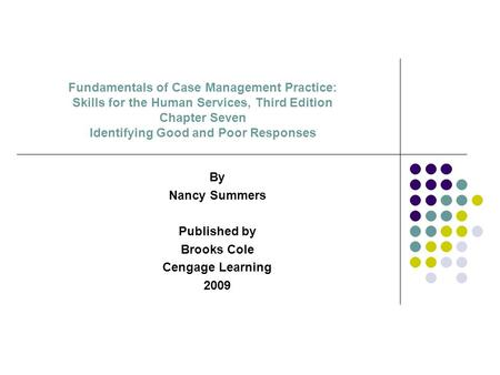 Fundamentals of Case Management Practice: Skills for the Human Services, Third Edition Chapter Seven Identifying Good and Poor Responses By Nancy Summers.