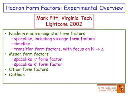M. Pitt, Virginia Tech Lightcone 2002,LANL Hadron Form Factors: Experimental Overview Mark Pitt, Virginia Tech Lightcone 2002 Nucleon electromagnetic form.